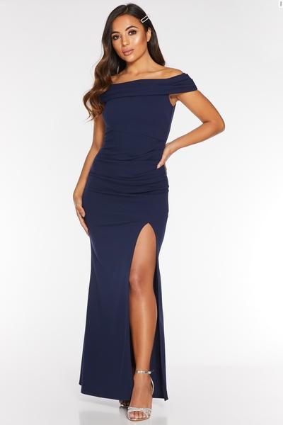 Petite Navy Bardot Split Maxi Dress